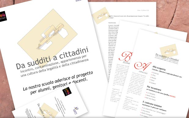 Da sudditi a cittadini: project logo, A3 poster, invitations, letters, flyer, documentation